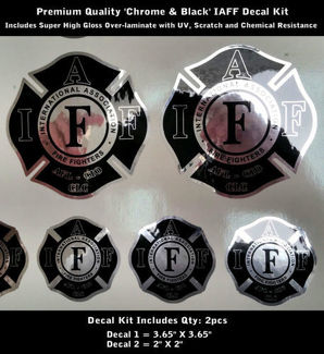 IAFF Firefighter Decals SET Chrome Silver Black Premium Quality 0090