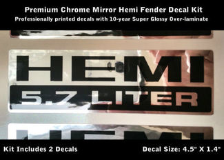 Hemi Decals 5.7 Liter Chrome Black Pair Sticker Graphic 0079