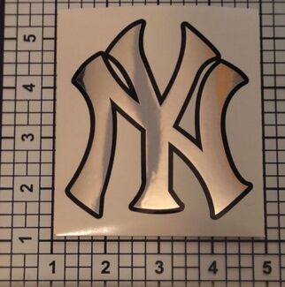 Yankees Decal Baseball Chrome Black Graphic Sticker