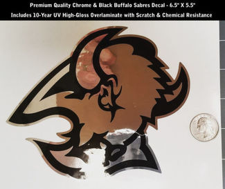 Buffalo Sabres Decal Chrome & Black Hockey Premium 6.5