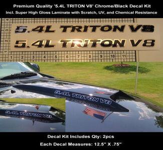 5.4L Ford Triton F150 F250 Chrome Black Decal Kit 2 stks 12.5 Inch Hood Scoop 0113