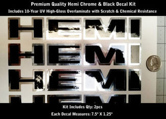 Hemi Truck Hood Scoop Fender Decal Kit 2pcs Chrome & Black 7.5