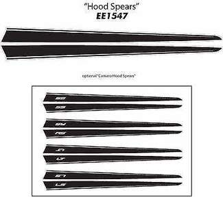 HOOD SPEARS Graphic Vinyl Decals Stripes Premium Grade 3M Vinyl 2013-2015 Camaro