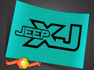 Jeep XJ - Black - Vinyl Decal Sticker Off Road Cherokee Trails Rock Crawling 4x4