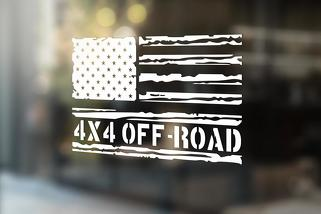 Distressed American Flag 4x4 OFF ROAD Decals Sticker Jeep Suburban Silverado