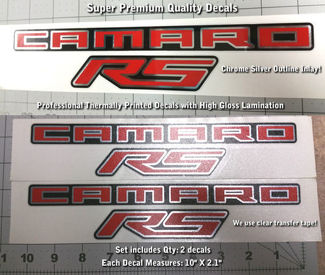 Camaro RS SS Fender Trunk Decal Kit Chrome Inlay Premium Quality 0027