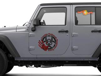 2x Zombie Outbreak Response Team Jeep Hood Door Decal Vehicle Truck Car Vinyl