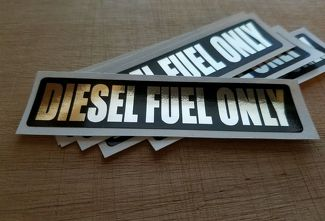 Diesel Fuel Only FUEL DOOR DECAL STICKER Black & Chrome