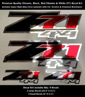 Z71 Decal Kit Chrome Red Chrome Black White Premium Quality 0091