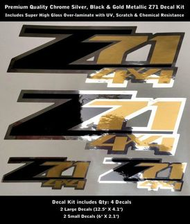 Z71 Decal Kit Chrome Black Gold Metallic Premium Quality 0092