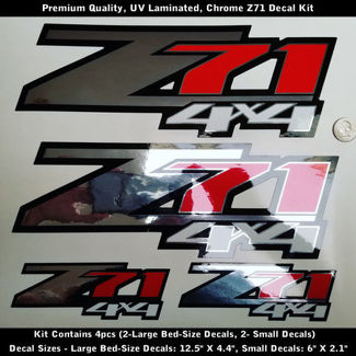 Z71 Decal Kit Chrome Red Black White Premium Quality UV 0164