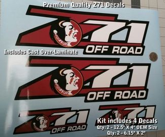Z71 Decal Kit OEM Size Florida Seminoles FSU Design Includes 0020