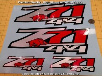 Z71 Decals SET OF 4 Arkansas Razorbacks Premium Quality High Gloss Finish, NICE