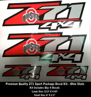 Z71 Decals SET OF 4 OSU Ohio State University Premium 0105