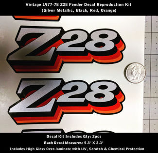 Z28 Camaro Decal Kit 2pcs Fender 1977 1978 Vintage Red Orange 5.3