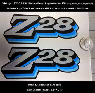 Z28 Camaro Decal Kit 2pcs Fender 1977 1978 Vintage Blues 5.3