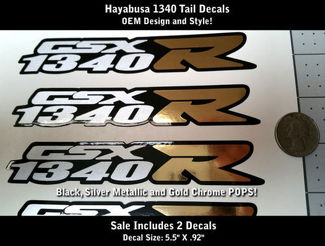 1340 Hayabusa Original Style Decals Black Metallic Silver Gold Chrome 5.5
