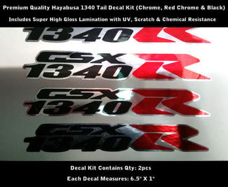 1340 R Decal Hayabusa Kit 2pcs GSXR Chrome Black Red Chrome 6.5
