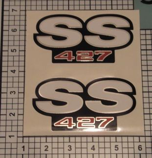 SS Decals 427 Camaro Chrome Red Black White Fender NICE