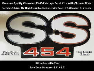 SS 454 Decal Kit 2pcs Camaro Chevrolet Chrome Outlines 4.5