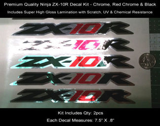 Ninja ZX10R Tail Decal Kit 2pcs 08-09 Chrome Red Black 7.5 Inches 0121