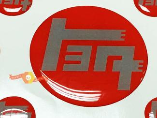 TEQ Red with Grey Toyota Domed Badge Emblem Resin Domed Decal Sticker for 4Runner FJ Cruiser