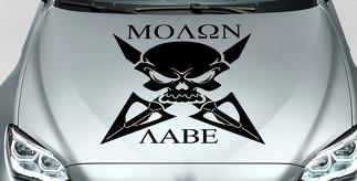 Skull MOLON LABE cross hood side vinyl decal sticker fits wrangler bmw et