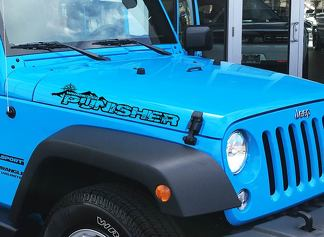 Pair Jeep Wrangler Punisher with Compass Vinyl Hood Decals TJ JK YJ