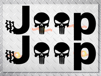 Jeep Punisher Skulls Vinyl Decals for Wrangler Side Bump Sticker Stickers
