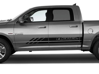Dodge RAM Rebel Streifen Rocker Panel 4X4 Bett Seite Grafik Aufkleber Aufkleber