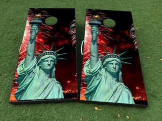 Statue of Liberty Cornhole Board Game Decal VINYL WRAPS with LAMINATED