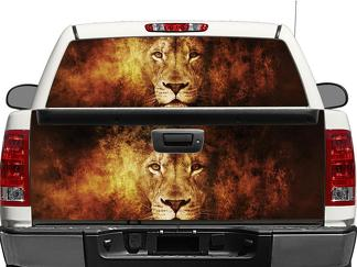 lion in flame Rear Window OR tailgate Decal Sticker Pick-up Truck SUV Car