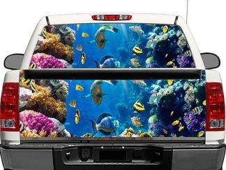Tropischer Fisch Unterwasser Meer Ozean Sealife Heckscheibe ODER Heckklappe Aufkleber Aufkleber Pick-up Truck SUV Auto