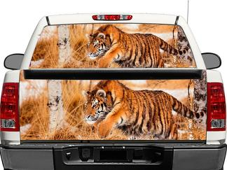 Big Cat Snow Tiger Wildlife Winter predator Rear Window OR tailgate Decal Sticker Pick-up Truck SUV Car