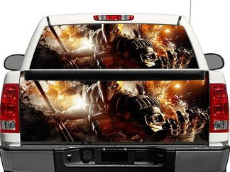 Deathstroke dc comics arkham Rear Window OR tailgate Decal Sticker Pick-up Truck SUV Car
