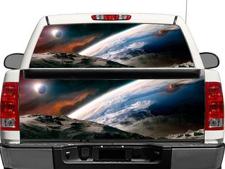 Outer space moon earth tranquility Rear Window OR tailgate Decal Sticker Pick-up Truck SUV Car