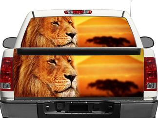 Lion on sunset Rear Window OR tailgate Decal Sticker Pick-up Truck SUV Car