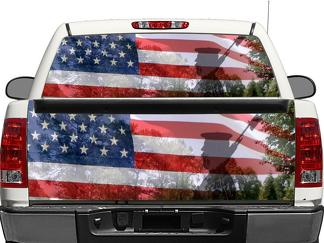 US USA Americans Military Veterans Rear Window OR tailgate Decal Sticker Pick-up Truck SUV Car