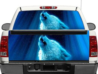 Silver Wolf Rear Window OR tailgate Decal Sticker Pick-up Truck SUV Car