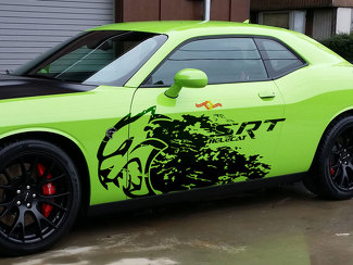 Dodge Challenger Charger SRT Hellcat Splash Grunge Hell Cat Vinyl Decal Graphic huge decal