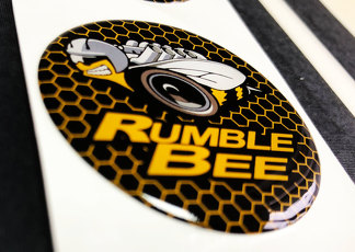 Starten Sie den Motorknopf Rumble Bee Dodge Domed Abzeichen Emblem Resin Decal Sticker