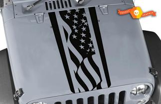 Jeep Wrangler TJ LJ JK American Flag Stripes Vinyl Hood Decal Sticker Car/Truck