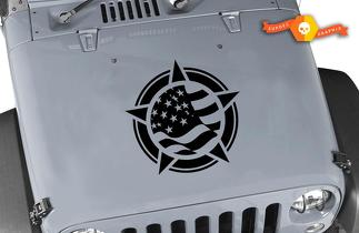 Jeep Wrangler TJ LJ JK Flag Star Vinyl Hood Decal Sticker Car Truck