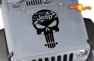 Jeep Wrangler TJ LJ JK Punisher Skull Flag Kit Set Hood Vinyl Decal Car/Truck