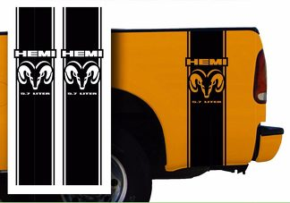 Hemi Dodge Mopar Pickup Truck Bed Stripes decal stickers / Choose Color