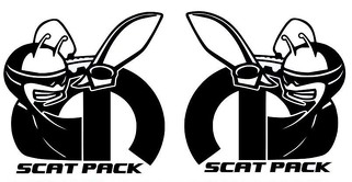 2 X Dodge Challenger Scat Pack 392 HEMI Shaker Hood Stickers Decal Emblem