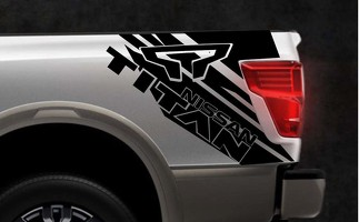 Side truck bed box graphic vinyl Decal Sticker Kit for NIssan TITAN 2015-2017 gt