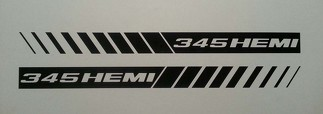 345 HEMI STROBE STRIPES ** HOOD DECALS ** MOPAR * DODGE RAM 5.7 CHARGER SRT8