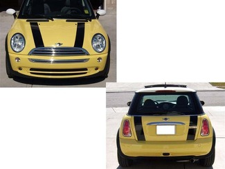 02-06 MINI COOPER BONNET AND BOOT STRIPES VINYL GRAPHICS STICKERS DECALS