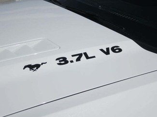 2011-2014 FORD MUSTANG 3.7 V6 WITH PONY HOOD DECALS VINYL DECALS SET OF 2